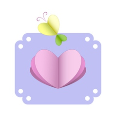 Greeting card with heart and butterfly vector