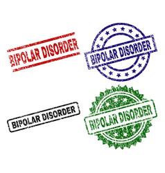 Grunge textured bipolar disorder stamp seals vector