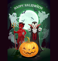 halloween pumpkin vampire and devil monster card vector image
