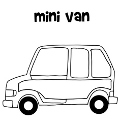 Hand draw of mini van vector