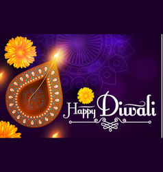 happy diwali traditional indian festival vector image