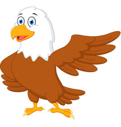 Happy eagle cartoon waving vector