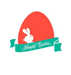 Happy Easter Colorful egg with ribbon and rabbit vector image