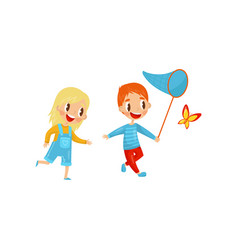 happy kids catching butterfly cute boy and girl vector image