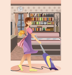 Happy woman vacuuming carpet vector
