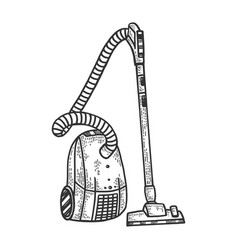 Home vacuum cleaner sketch engraving vector