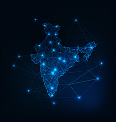 india map glowing silhouette outline made of stars vector image