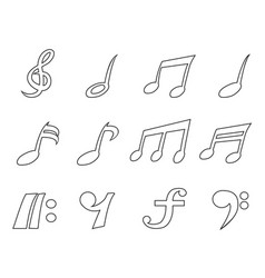 isolated black music note outline icons set vector image