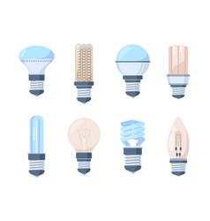 light bulbs set fluorescent retro modern lamps vector image