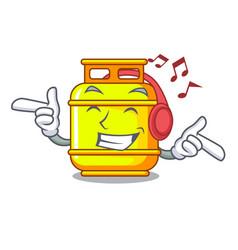 Listening music creative in gas cartoon tank vector