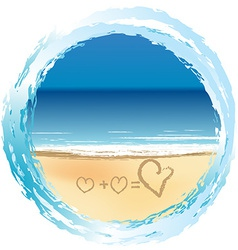 Love concept with hearts drawn on the sand vector
