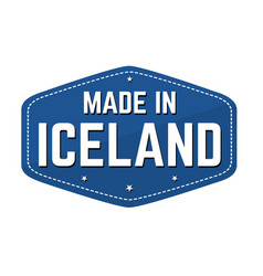 made in iceland label or sticker vector image