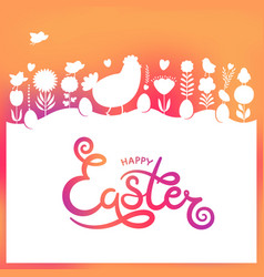 modern easter hand drawn happy easter lettering vector image