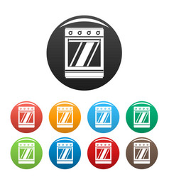 Modern gas oven icons set color vector