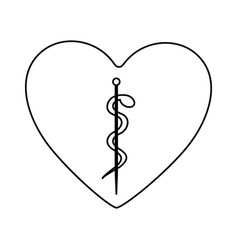 Monochrome silhouette of heart with asclepius vector