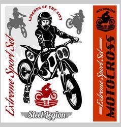 Motocross rider badge logo emblem vector