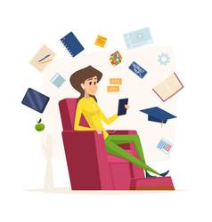 online education character listen headset music vector image