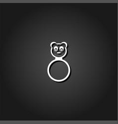 panda rattle icon flat vector image