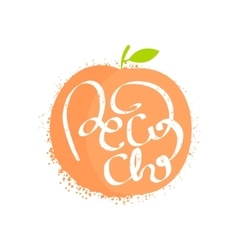 Peach Name Of Fruit Written In Its Silhouette vector