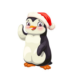 Penguin animal cartoon antarctic bird in red hat vector