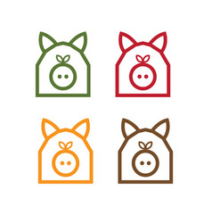 Pig in form barn simple design template vector