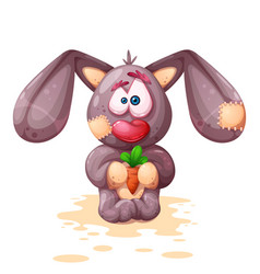 plush rabbit character crazy vector image