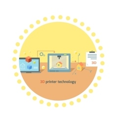 Printer Technology Icon Flat Design vector image