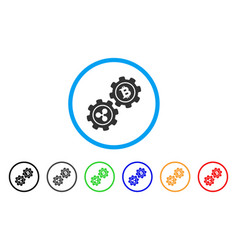 ripple bitcoin gears rounded icon vector image