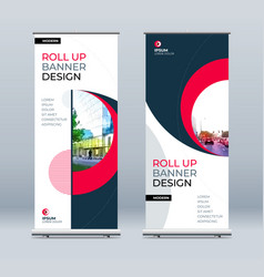 roll up banner stand presentation concept vector image