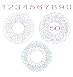 Rosettes and numbers vector