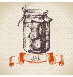 Rustic canning jar with tomato vector image