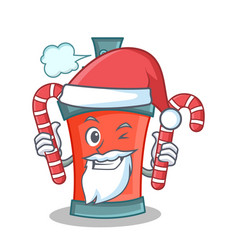santa with candy aerosol spray can character vector image