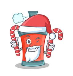 Santa with candy aerosol spray can character vector
