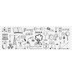science equipment and attributes doodle set vector image