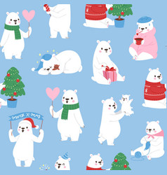 seamless pattern with cute polar bears vector image