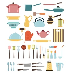 Set of kitchen utensil and collection of cookware vector