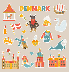 set of stickers of danish famous places symbols vector image