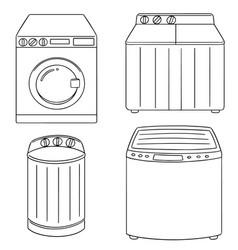 set of washing machine vector image