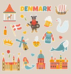 set stickers danish famous places symbols vector image