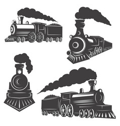 Set trains icons isolated on white background vector