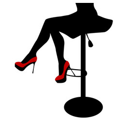 sexy woman legs staying on a bar chair vector image