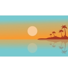 Silhouette of seaside with reflection scenery vector