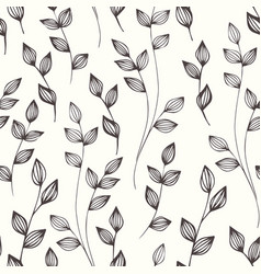 small stylized branches hand drawing seamless vector image