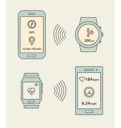 Smartwatches and smartphones communication vector