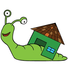 Snail with home cartoon vector