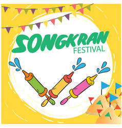 Songkran festival water gun flags sand pagoda back vector