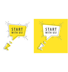 speaker and tag start with us vector image