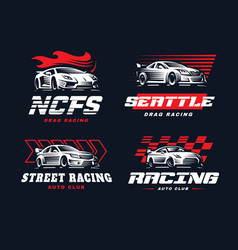 Sport car logo on dark background vector