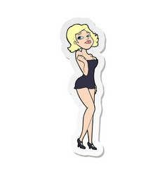 Sticker a cartoon attractive woman in short vector
