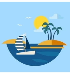 Summer Seascape with Sailboat vector